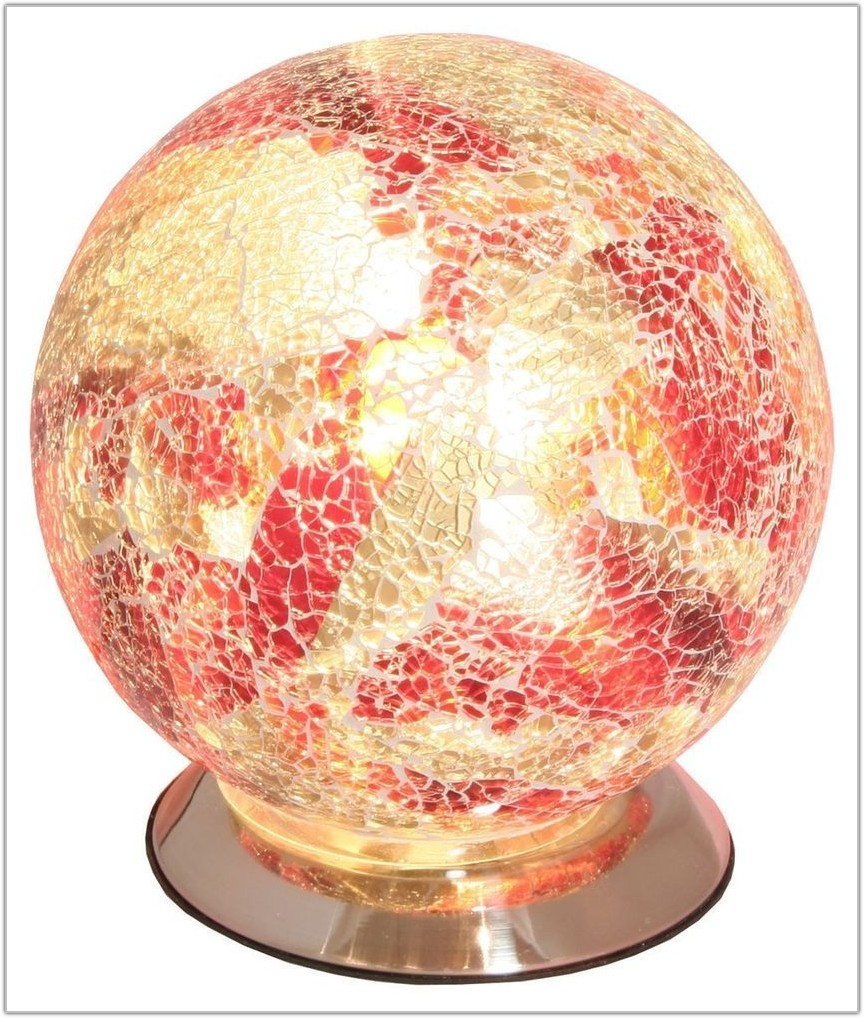 Red Glass Ball Table Lamp