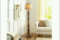 Rustic Distressed Carved Wood Floor Lamp