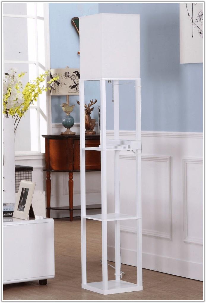 Shelf Floor Lamp With Paper Shade Walnut