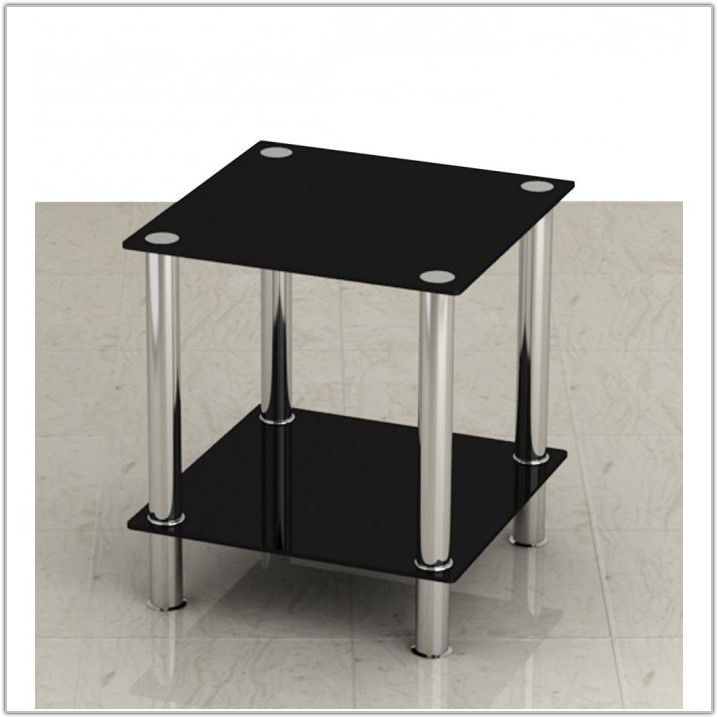 Small Black Glass Lamp Table