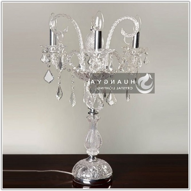 Small Crystal Chandelier Table Lamp