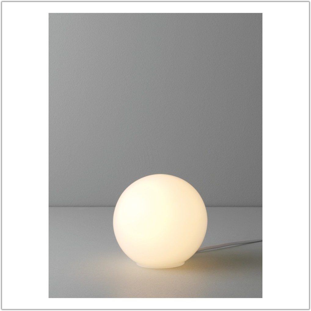 Small White Glass Table Lamp