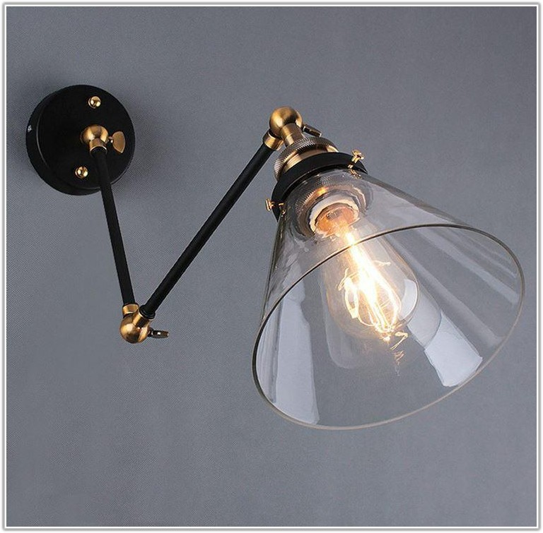 Swing Arm Wall Lamp Glass Shade