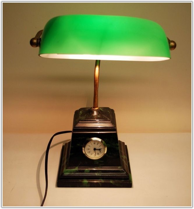 Table Lamp With Green Glass Shade