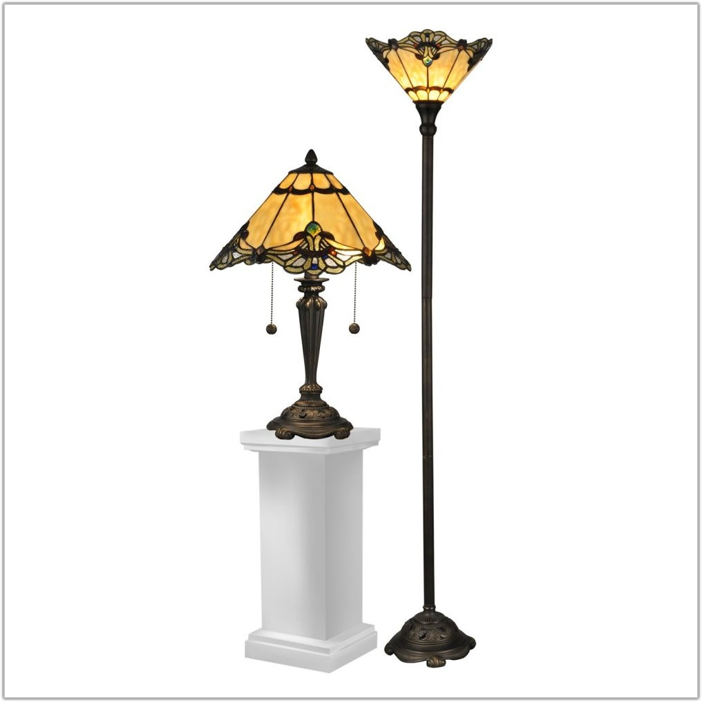 Tiffany Floor And Table Lamp Set