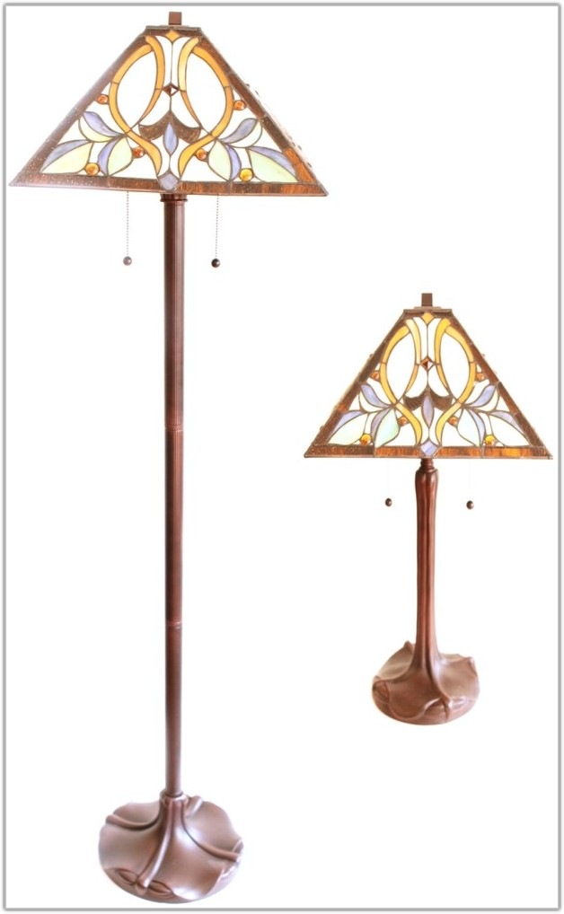 Tiffany Style Floor And Table Lamp Set