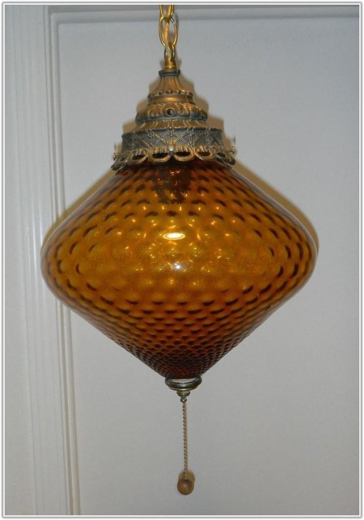 Vintage Blue Glass Hanging Lamp