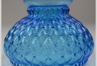 Vintage Blue Glass Hurricane Lamp
