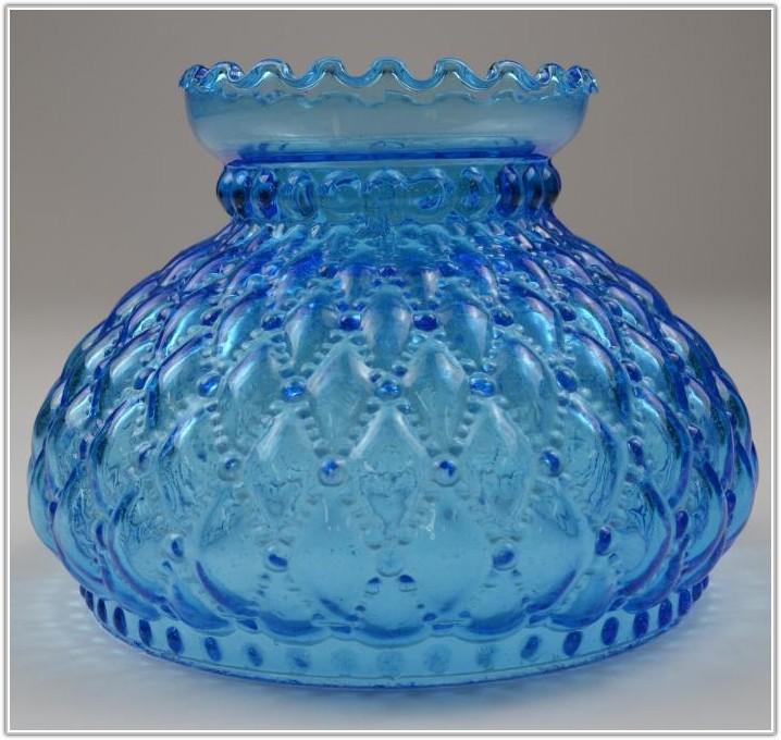 Vintage Blue Glass Hurricane Lamp