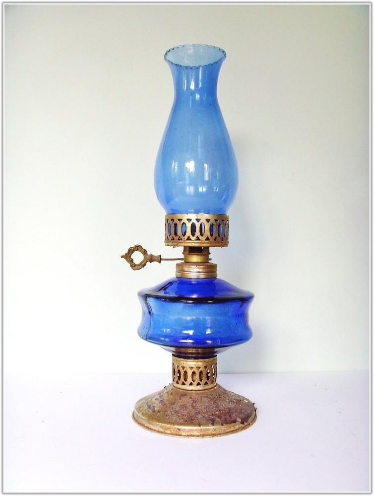 Vintage Blue Glass Oil Lamp