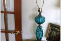 Vintage Blue Glass Table Lamp