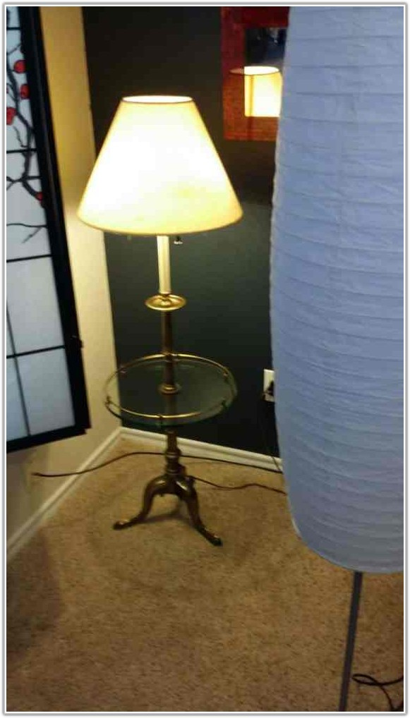 Vintage Brass Floor Lamp With Glass Table