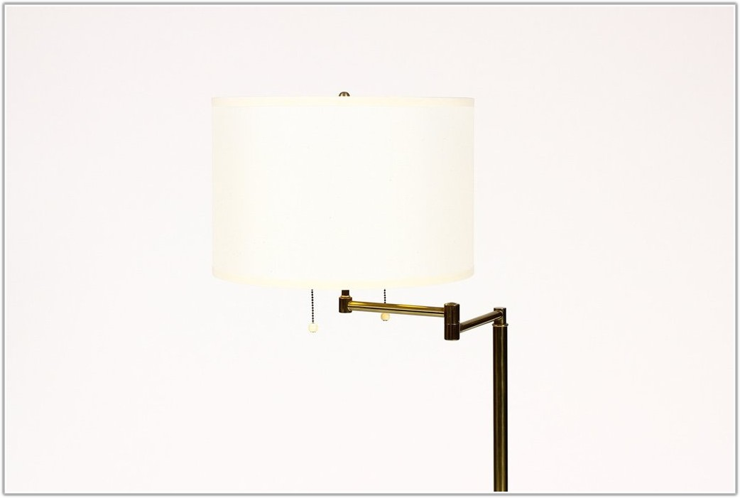 Vintage Brass Swing Arm Floor Lamp