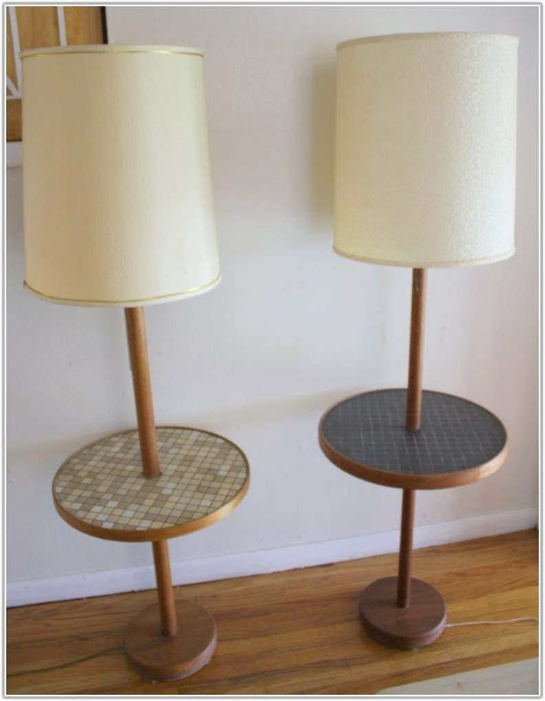 Vintage Floor Lamp With Glass Table