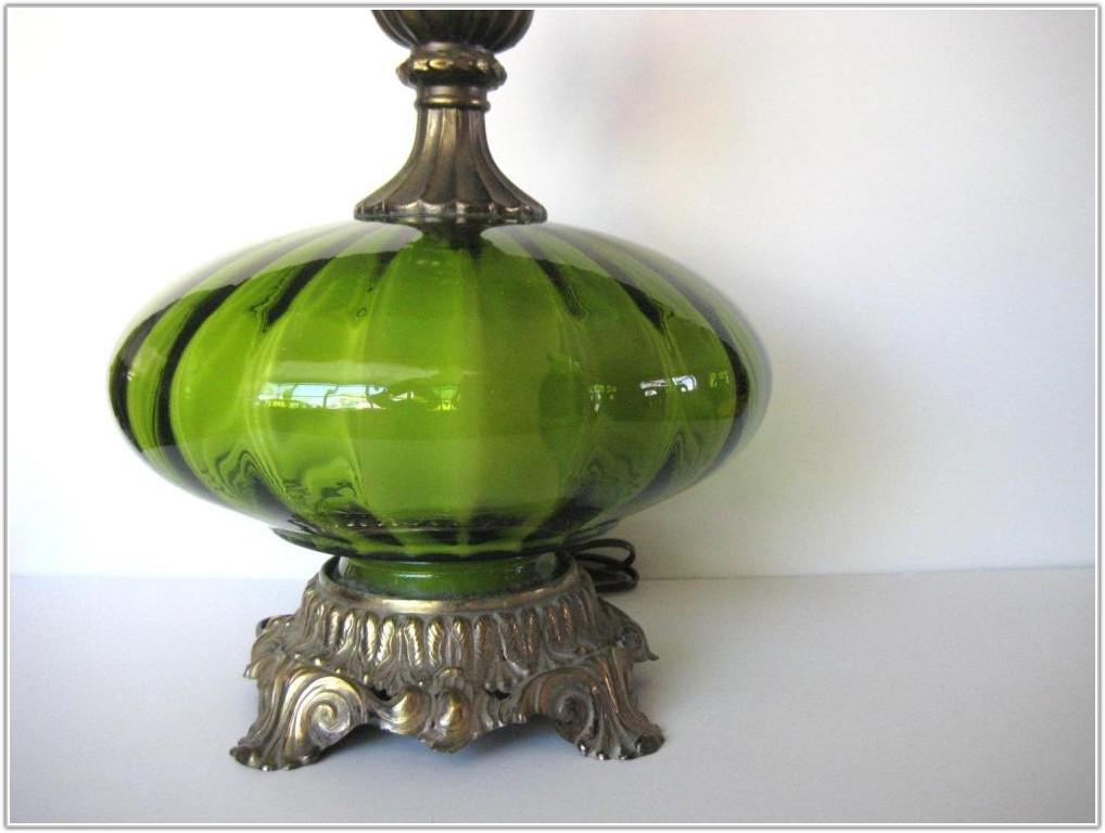 Vintage Green Glass Lamp Base