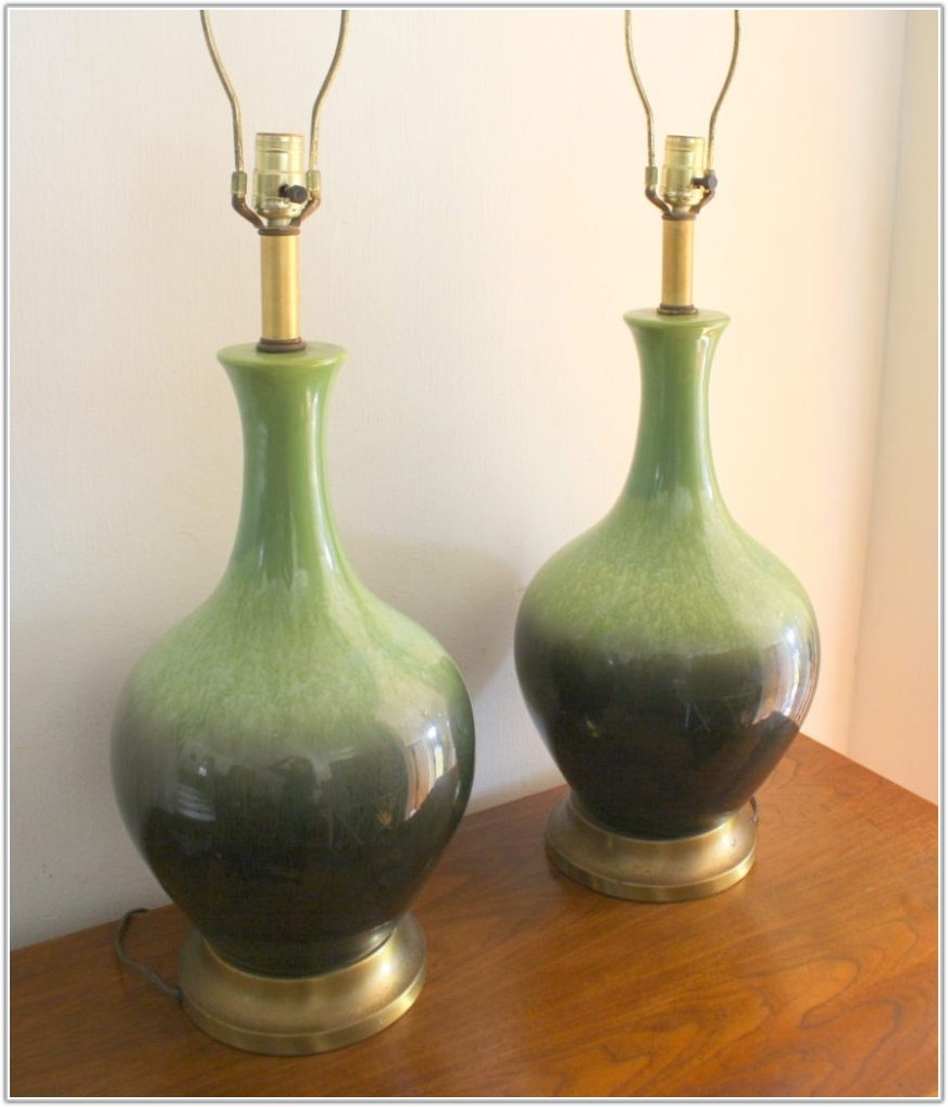 Vintage Green Glass Table Lamps