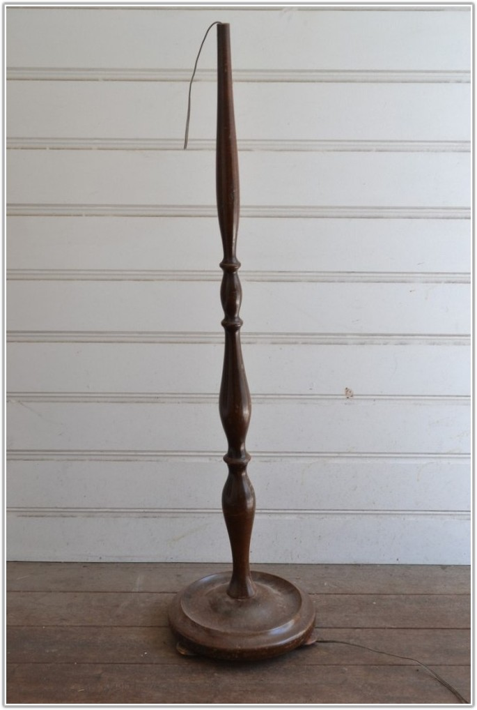 Vintage Wooden Floor Lamp Base