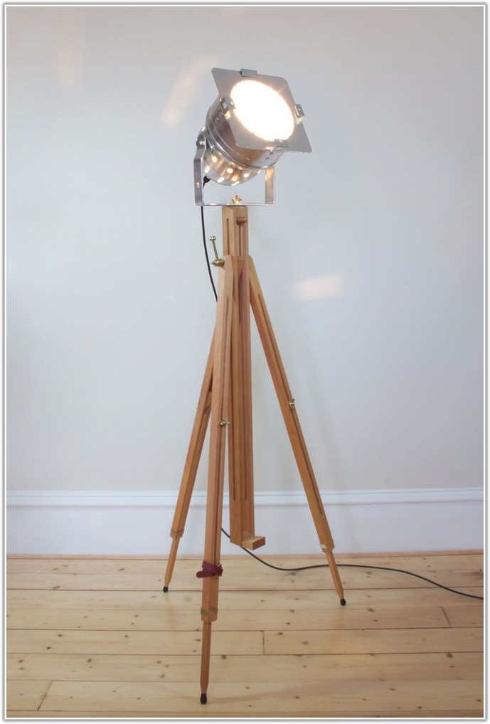 Vintage Wooden Tripod Floor Lamp