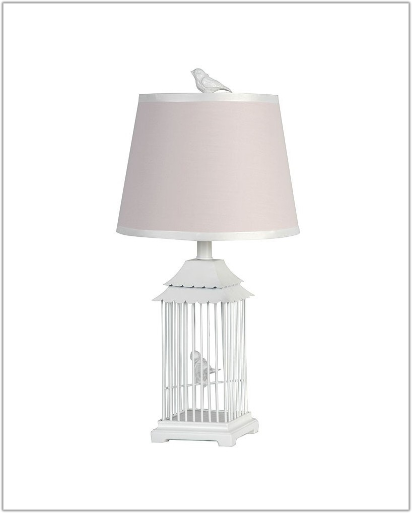 White Bird Cage Table Lamp