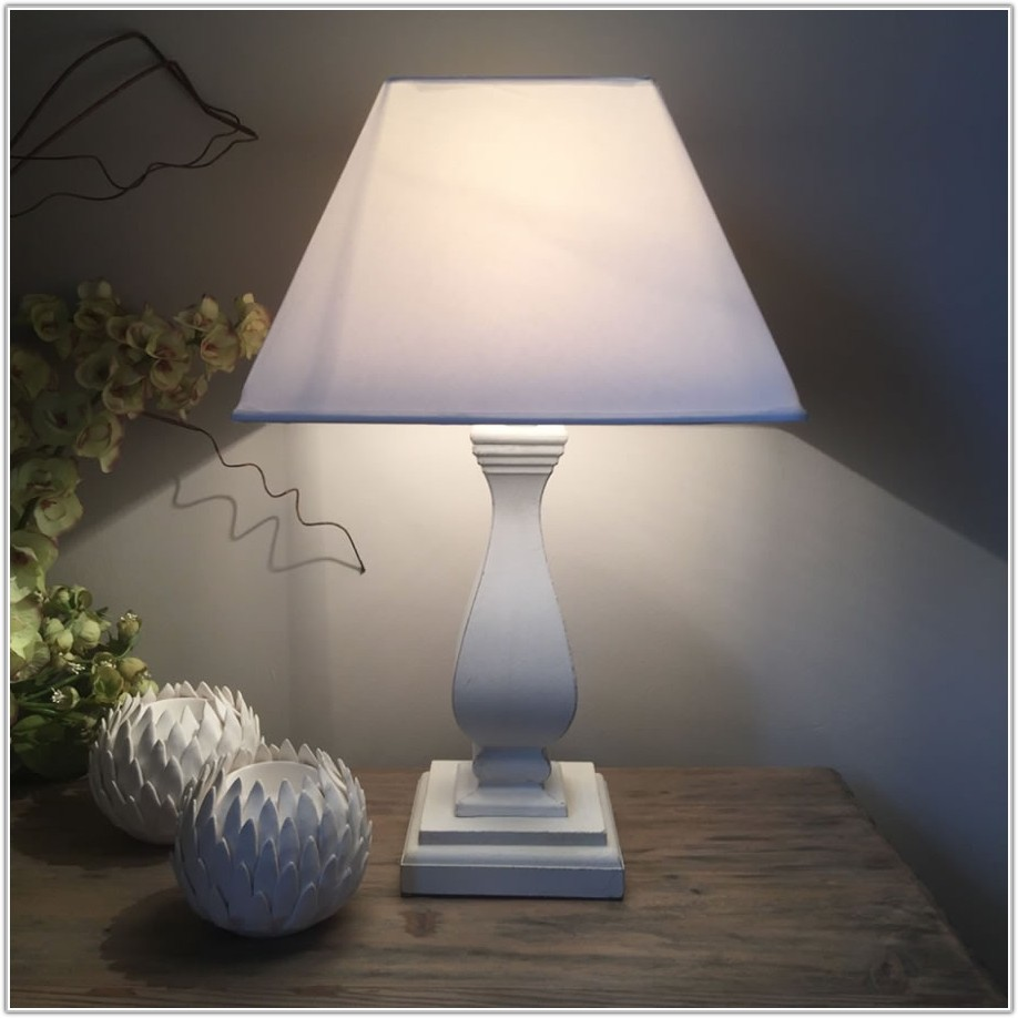 White Distressed Wood Table Lamp
