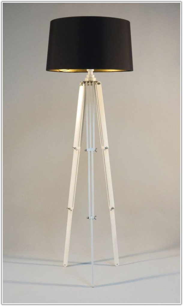 White Wooden Floor Lamp Stand