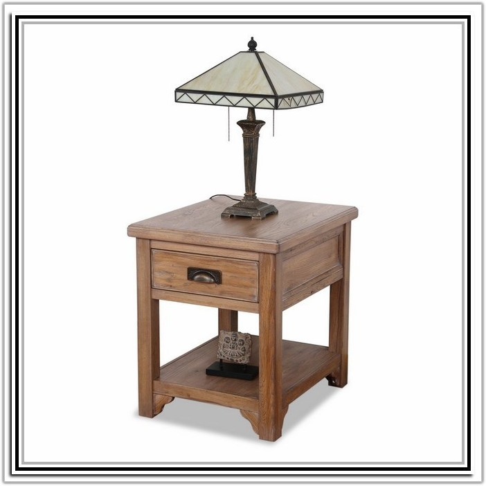 Wood End Table With Built In Lamp