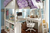Full Size Loft Bed With Desk White