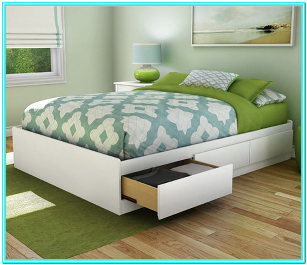 Full Size Platform Bed With Storage Drawers