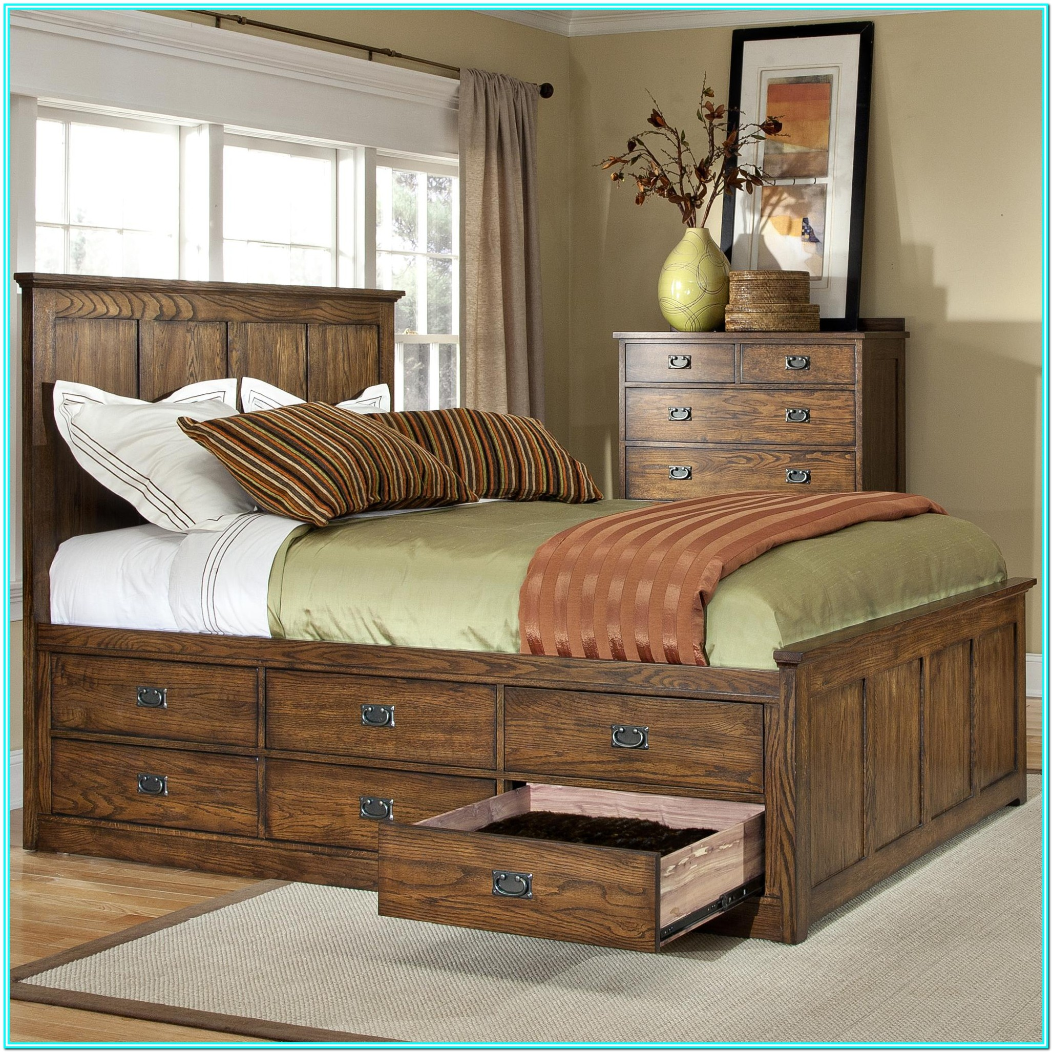 King Platform Bed With Drawers And Headboard