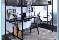 Metal Full Loft Bed With Desk Underneath