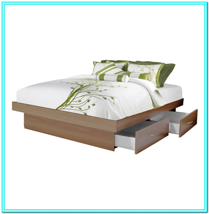 Queen Platform Bed With Drawers And Headboard