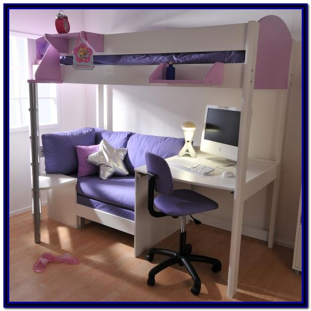 White Loft Bed With Desk And Sofa Bed