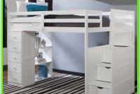 White Loft Bed With Stairs And Desk