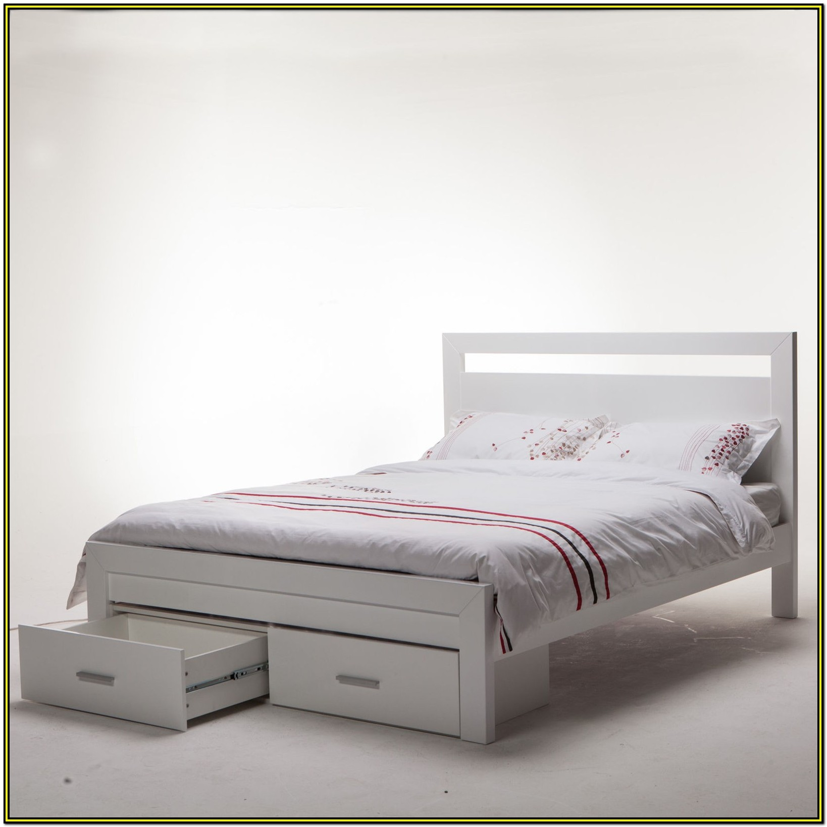 White Queen Size Bed Frame With Drawers