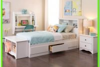 White Twin Bed With Drawers And Headboard