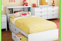 White Twin Bed With Storage And Headboard