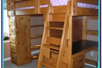Wooden Full Loft Bed With Desk