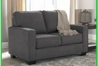 Ashley Furniture Alliston Leather Queen Sleeper Sofa In Gray
