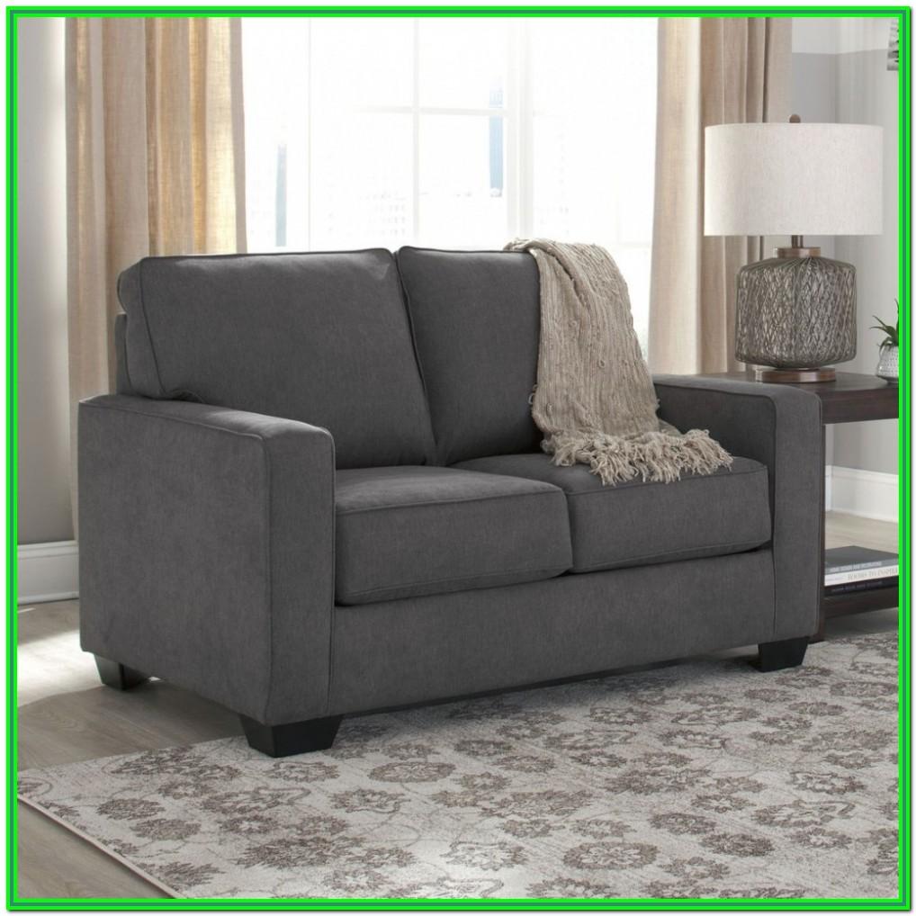 Ashley Furniture Alliston Leather Queen Sleeper Sofa In Gray