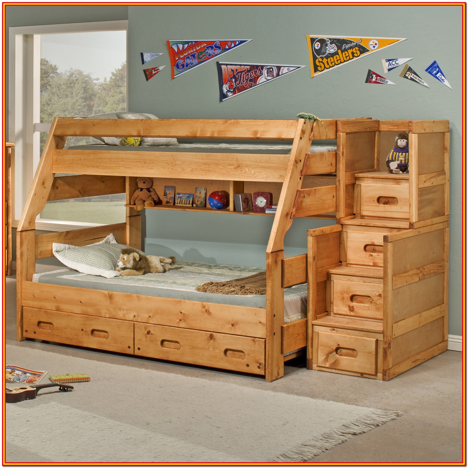 Full Size Loft Bed With Storage Stairs
