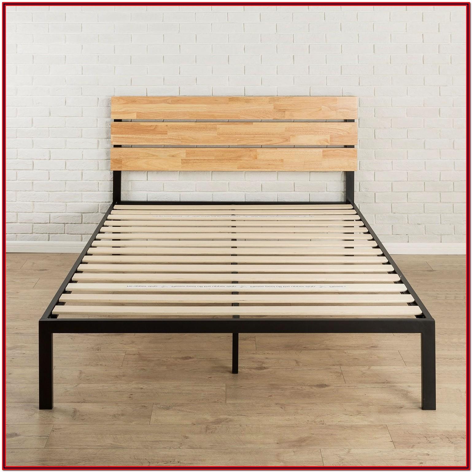 Full Size Metal Platform Bed Frame With Wood Slats