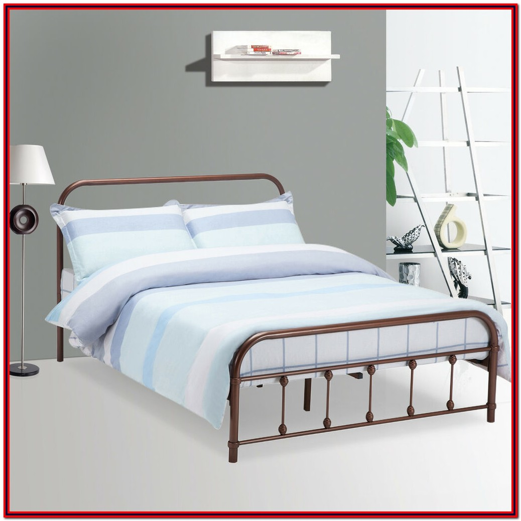 Queen Size Metal Platform Bed Frame With Headboard