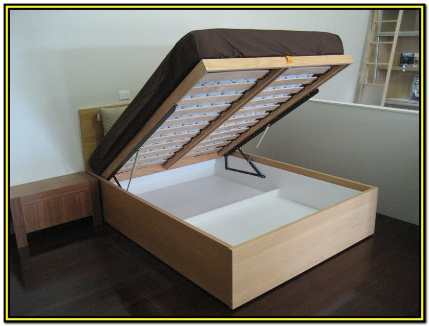 Queen Storage Bed Frame With Lift And Open