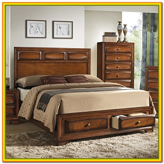 Queen Wood Bed Frame With Storage