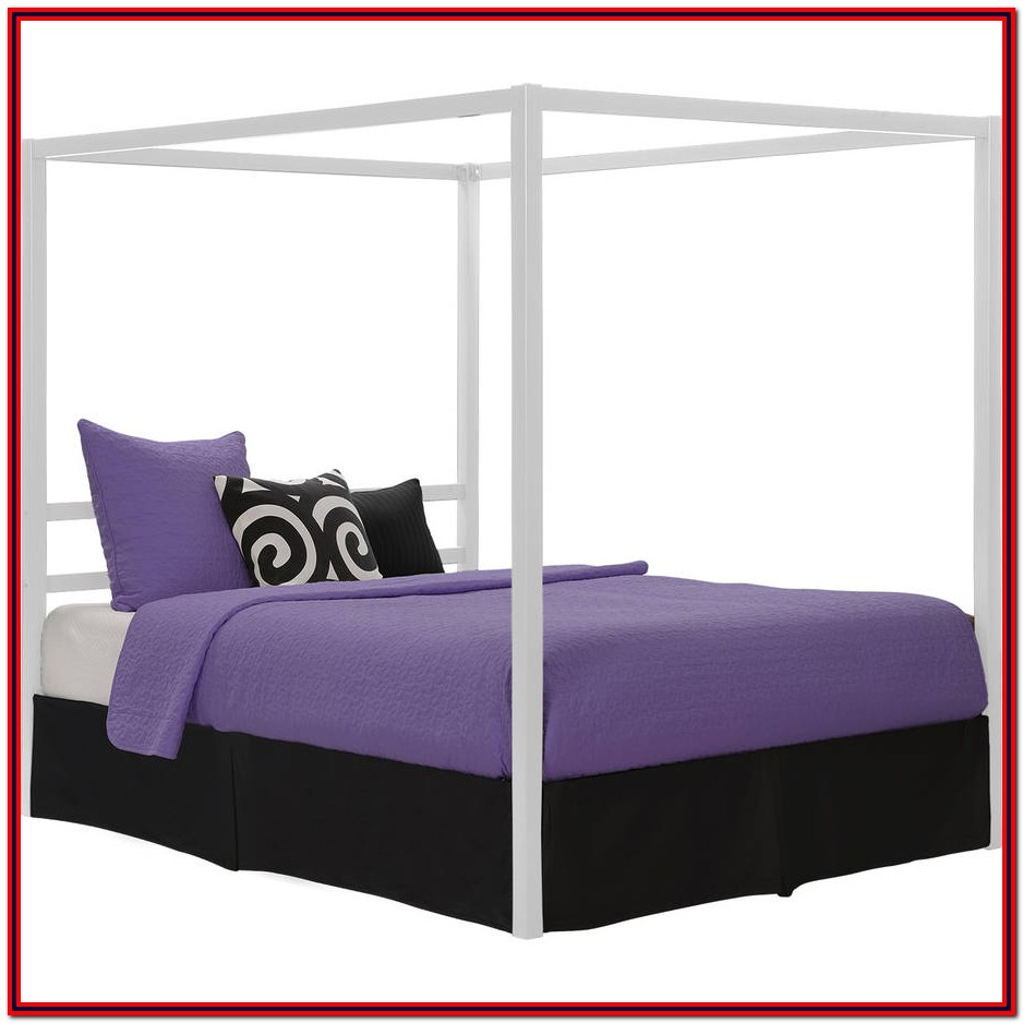 White Metal Platform Bed Frame Queen