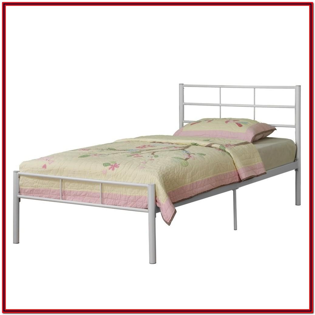 White Metal Twin Platform Bed Frame