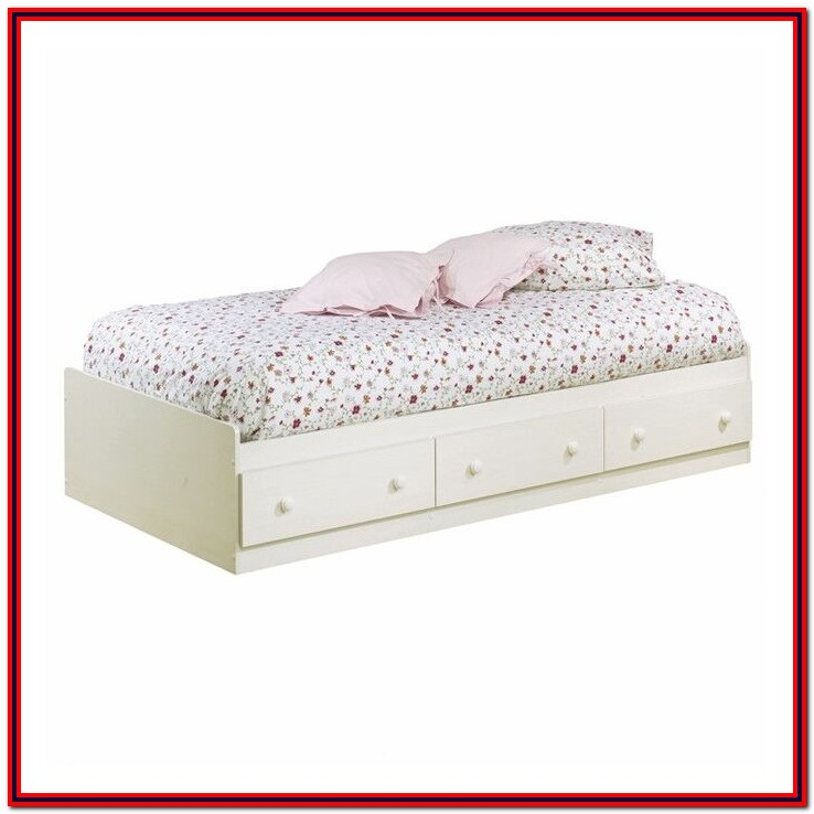 White Twin Platform Bed With Storage Drawers