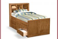 Wood Twin Bed With Storage Drawers