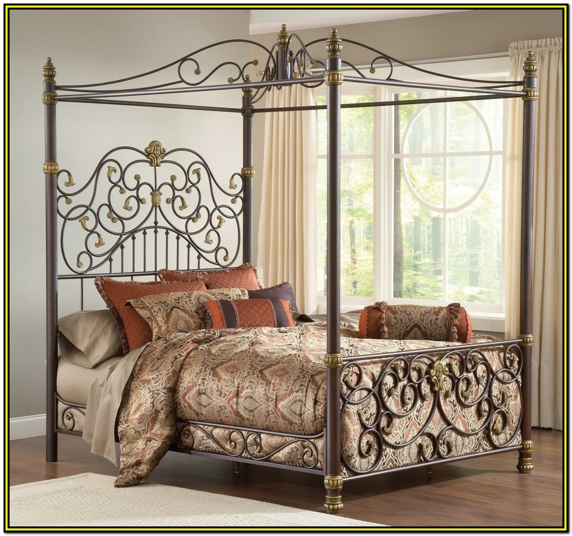 Wrought Iron Canopy Bed Frame Queen