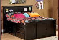 Full Size Black Storage Bed With Bookcase Headboard